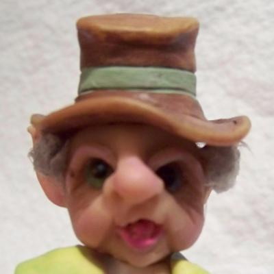 "Elf,fae,4.7"".fairy,forest,OOAK,polymer,glass eyes,long coat,mini - Claydoodles"