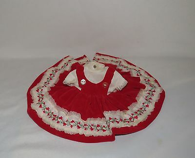 "Vogue Red Velvet Dress Tagged Fits 12"" Baby Doll"