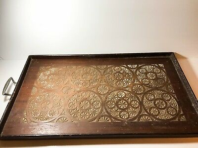 Early Antique Wooden Serving Servants Tray Hand Carved Geometric Circle Pattern