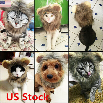 Pet Costume Lion Mane Wig Hat With Ears Dog Cat Halloween Party Festival Dress