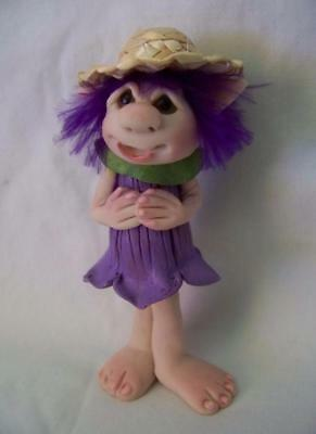"fae,3.75""fairy,forest,OOAK,polymer,glass eyes,Flower fairy,hat - Claydoodles"