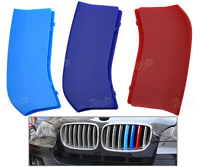 3x For BMW X5 X6 3D ABS Kidney Front Grill Grille Decal Strip Bar Cover Trim Set