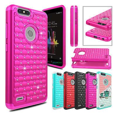 For ZTE Blade Z Max/ Sequoia/ Z982 Hybrid Shockproof Bling Armor TPU Case Cover
