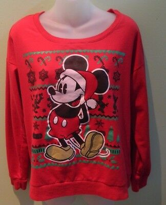 Disney Red Mickey Mouse Santa Christmas Holiday Sweater Size XL