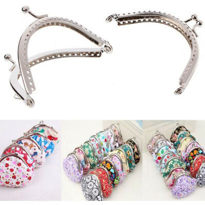 UK Silver Handle Sewing Purse Frame For Handbag Coins Bags Metal Kiss Clasp New