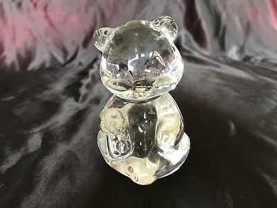 Vintage Fenton art glass animal clear seated bear cub 8.5cm x 5.5cm