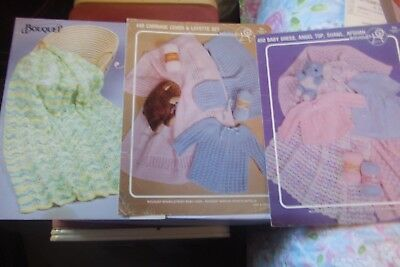 Lot of 3 Vintage Bouquet Knitting Patterns Afghans, Baby Clothing