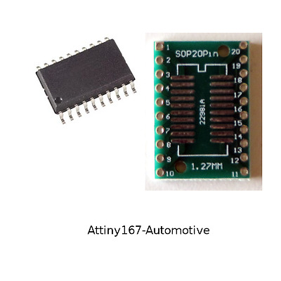 5pcs Attiny167-Automotive ATMEL AVR Microcontroller with 20pin adapters