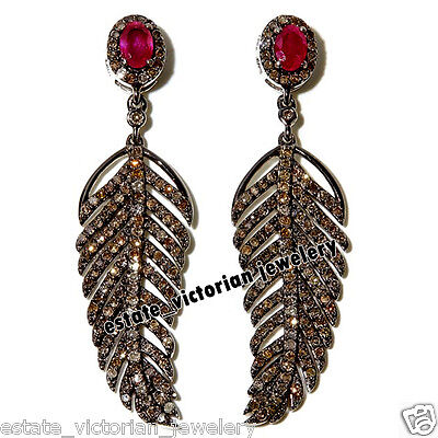 Vintage Estate 5.02Cts Rose Cut Diamond Ruby 925 Silver Feather Earring Jewelry