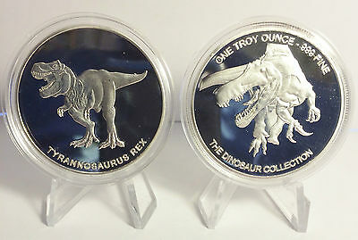 """2014 1 OZ T-REX COIN """"The Dinosaur Collection"""" Finished in 999 Silver"""