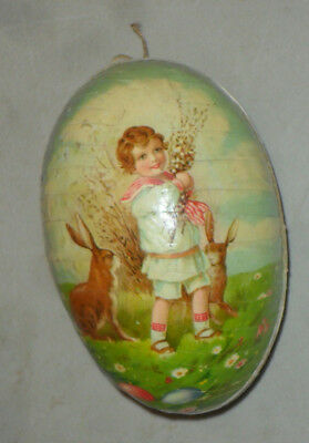 Vintage Germany Paper Mache Easter Egg Candy Container Boy Rabbit