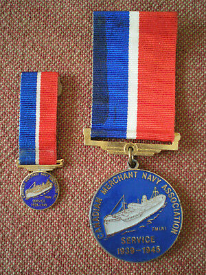 1939 - 45 Canadian Merchant Navy Association Service Medal with Miniature