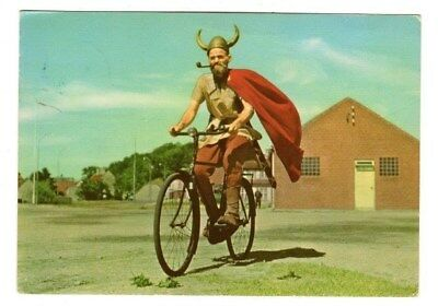 Viking on Bicycle,Photo Postcard (Denmark)