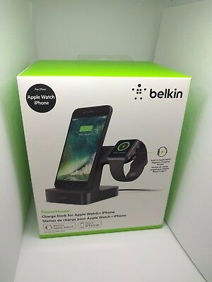 Belkin Powerhouse Charge Dock for Apple Watch and iPhone - Black, Brand New
