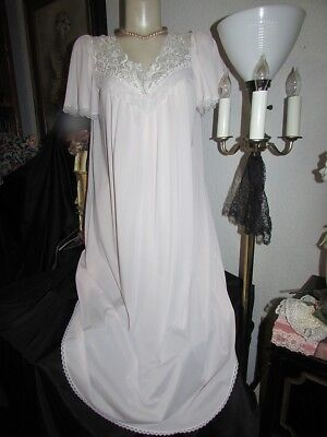 """46"""" bust vtg Christian Dior L Pink Tissure Sheer Nylon Lace Yoke Nightgown Gown"""