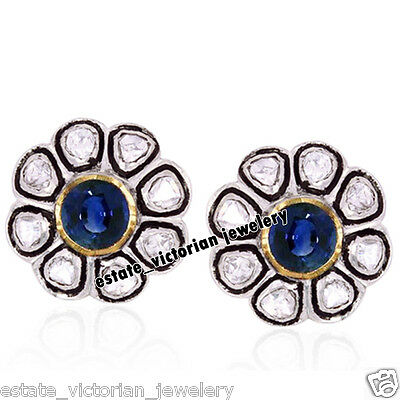 Victorian Inspired 1.55cts Antique cut Diamond Sapphire 925 Silver Studs Jewelry