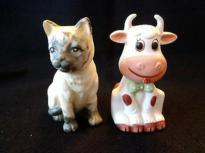 """Collectible Cat And Cow Porcelain Bells - Set Of 2 - New - 4"""" Tall"""