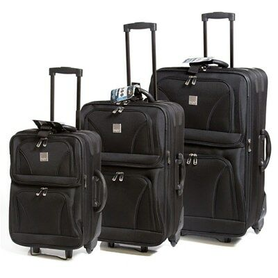 3pc Cambridge Luggage Suitcase Trolley Set Travel Carry On Bag Lightweight Black