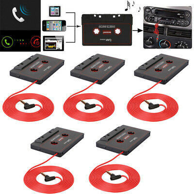 Lot 5x  Car Audio Cassette Tape Adapter For iPhone iPod MP3 CD Player Mic AUX US