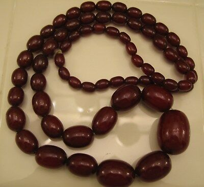 Art Deco Faturan Cherry Amber Bakelite Necklace 99+ Grams