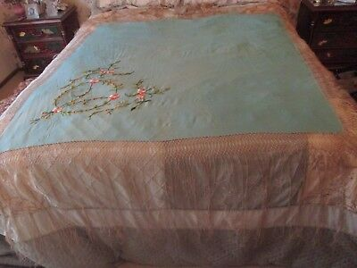 Antique Chinese Double Sided Hand Embroidered Silk Piano Turquoise Shawl