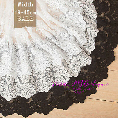 1 Yard,19-45cm Delicate Flower Embroidered Cotton tulle lace trim Fabric FP107
