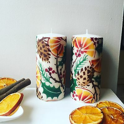 Emma Bridgewater Themed Large Pillar Candle - Christmas Orange Wreath