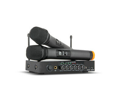 Dual 2 handheld Wireless Microphones Karaoke System VHF With Bass Bluetooth Echo