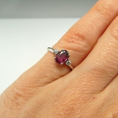 Gem Ruby Diamond Ring 14K Gold Dainty Delicate Anniversary 60s Color Engagement