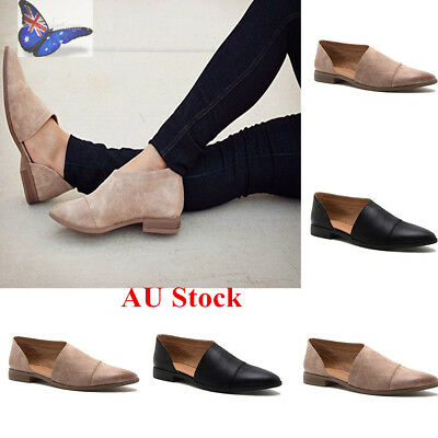 Womens Punk Pointed Toe Hollow Leather Flats Sandals Slip On Roman Oxford Shoes