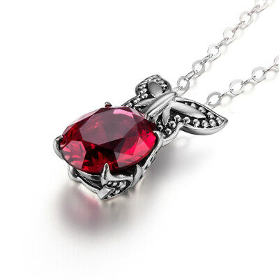 Authentic 925 Sterling Silver Pendant Chain Ruby Necklace Link Red Chains Links