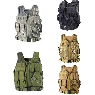 Tactical Army Military Airsoft Combat Vest Paintball Assault Vest Adjustable AU
