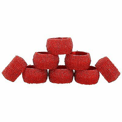 Artist Haat Red Table Decoration Glass Napkin Rings Set of 8 Décor