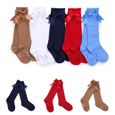 Kids Baby Girls School Knee High Socks with Bow Winter Christmas Stockings Gifts