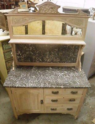 Antique Bleached Walnut Marble Top Washstand / Buffet / Sideboard