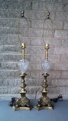 Vintage Pair of Hollywood Regency Patterned Brass & Crystal Tall Table Lamps