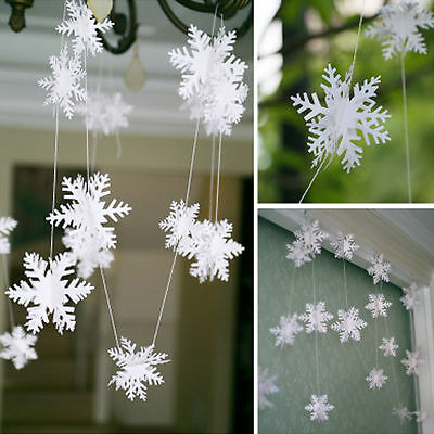 12pcs 3D White Snowflake Christmas Ornaments Xmas Tree Hanging Decoration 3M
