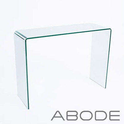 Glass Console Table Large Clear Living Dining Bent End Smooth Edge Hall Desk New