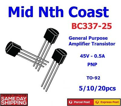5/10/20pc BC337-25 45V - 0.5A General Purpose Amplifier Transistor PNP TO-92
