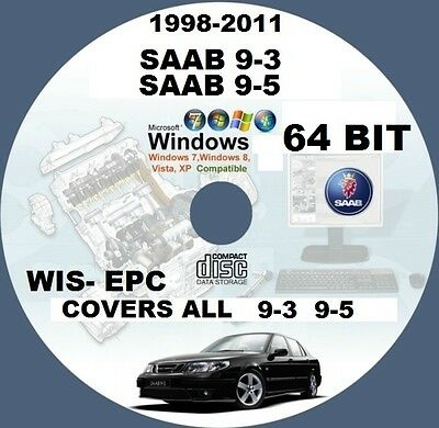 Saab 9-3 9-5 1998-To-2011 Wis- Epc Workshop Repair Manual Cd Windows 64 Bit Pc