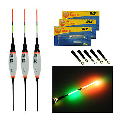 3Pcs Electronic LED Fishing Floats Bobbers With Battery Night Light Floats