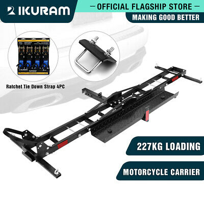 "IKURAM Steel Motorcycle Motorbike Carrier Rack 2"" Towbar Hitch Mount with Ramp"