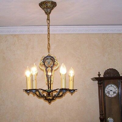 212b Vintage 20s 30s Ceiling Light  aRT Nouveau Poly-chrome Chandelier