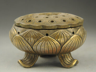 Old China Temple brass lotus flower Hollow out Incense Burner Statue Figurine