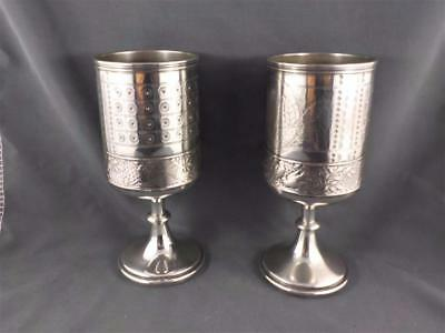Antique finely engraved Goblets Makers Meriden B Company 1866 c