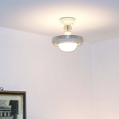 977 Vintage 30'S art Deco CEILING LIGHT  handelier fixture shade  3 light beige