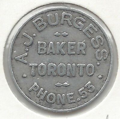 A. J. Burgess Bakers Toronto One Loaf Round Aluminium Bread Token