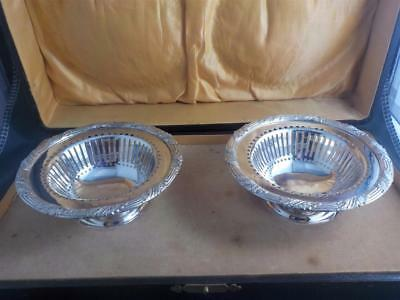 Antique silver plated pierced & scrolled decoration dishes