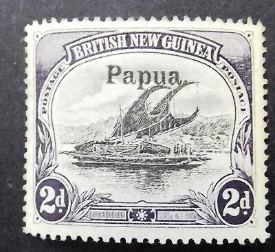 BRITISH NEW GUINEA 2d BLACK AND VIOLET, WITH THE RARE WHITE LEAVES VARIETY MLH