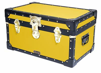 YELLOW Traditional British Mossman Made Boarding School Tuck Box Storage Trunk